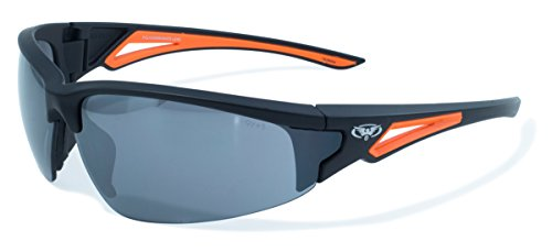 r Leverage Series Sunglasses with Orange Frame and Flash Mirror Safety Lenses ()