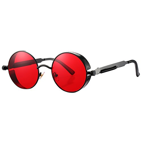 Pro Acme Gothic Steampunk Sunglasses for Men Women Metal Frame Round Len (Black Frame/Red - Round Frame Red Sunglasses