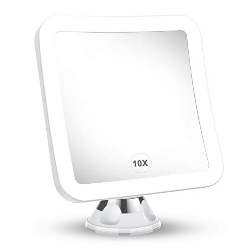 2021 Upgraded 10x Magnifying Lighted Makeup Mirror with Natural White LED Lights, 360°Swivel Portable Cordless Makeup…