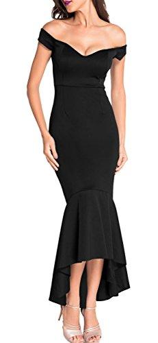 made2envy Drop Shoulder Mermaid Asymmetric Evening Dress (S, Black) LC60171SB
