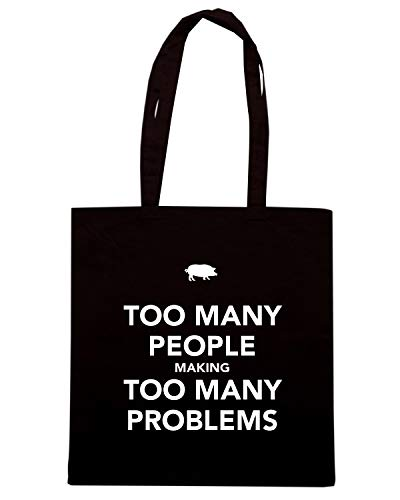 Speed Shirt Borsa Shopper Nera TKC4153 KEEP CALM AND TOO MANY PEOPLE MAKING TOO MANY PROBLEMS