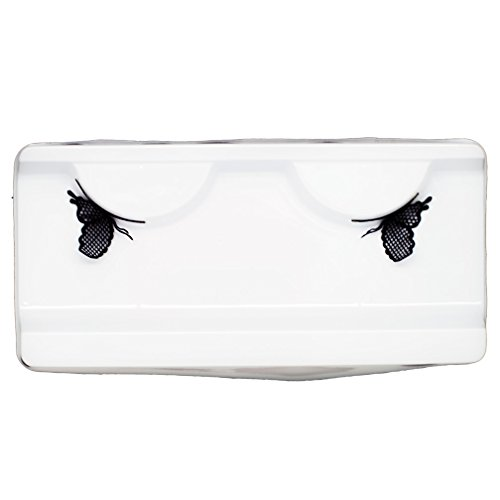 (EMILYSTORES Cute Butterfly Lace Shaped Halloween Fancy Fashion Costume Party Black Lace Lashes Paper Lashes False Eyelashes 1)