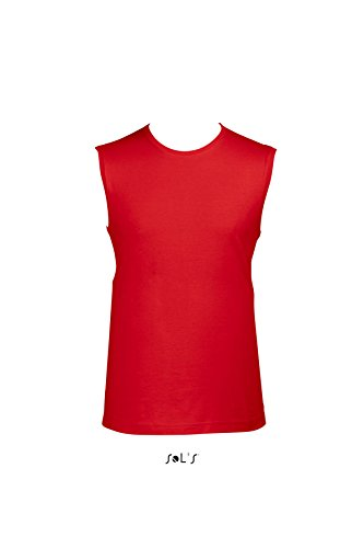 Sols - Jazzy - Herren T-Shirt Ärmellos , Red , S S,Red