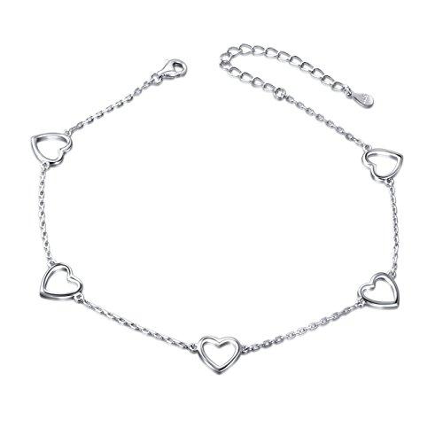 Love Heart Anklet for Women S925 Sterling Silver Adjustable Foot Plus Ankle Bracelet
