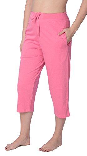 Women's Capri Jersey Knit Pajama Lounge Pant Available in Plus Size JLP1_18 Pink 4X