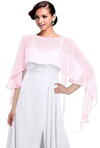 Women Chiffon Cape Bridal Soft Chiffon Scarve Shawls Wraps Beach Cover Up Wedding Bridal Capelet Evening Shawls (Pink)