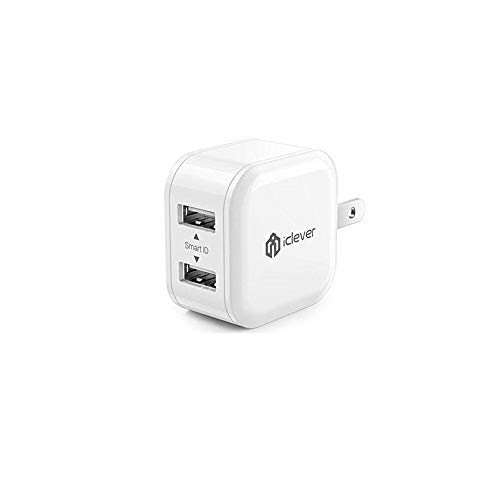 [Mini & Smart] iClever BoostCube 12W Dual USB Wall Charger with Foldable Plug for iPhone X/8/7/6s/Plus, iPad Air 2/mini 3, Galaxy S7/S6/S6 Edge, Note 5 and More, White