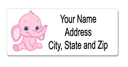 Personalized Address Labels for Baby Shower - Pink Elephant 120 Labels