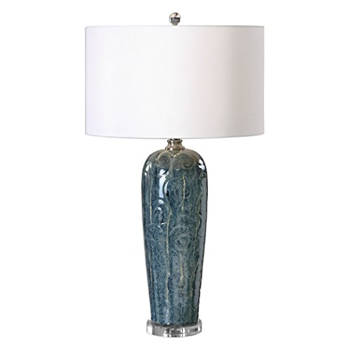 Embossed Blue Scroll Table Lamp | Ivory White Shade Ornate Romantic Gloss
