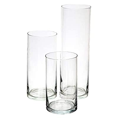Royal Imports Glass Cylinder Vases Set of 3 Decorative Centerpieces for Home or Wedding - QUALITY: Royal Imports set of 3 clear glass cylinder vases are made of crystal clear glass to maximize content visibility. Each cylinder features thick glass walls and weighted base to ensure durability. Imported. BEST SELLER: Royal Imports Glass cylinder vases, commonly referred to as tall round vases have become best-sellers in the floral supply, home décor, and wedding planning industry. It has made its way to the top because of its beautiful appearance, quality and durability. USES: The glass Cylinder is very popular with fresh flower arrangements as well as silk or dried floral designs. But it is also commonly used as candle holders, storage containers (in modern offices) ,aquariums or fish tanks, pot-pourri containers, and centerpieces. - vases, kitchen-dining-room-decor, kitchen-dining-room - 31T8N2XufML. SS400  -