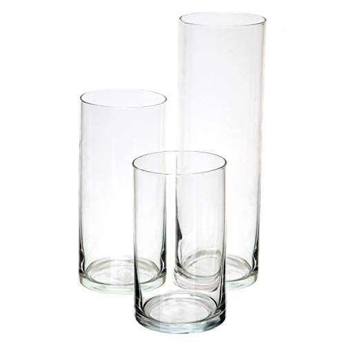 (Royal Imports Glass Cylinder Vases Set of 3 Decorative Centerpieces for Home or Wedding)