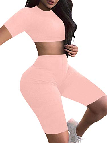 (BEAGIMEG Women's Sexy 2 Piece Outfit Crop Top Bodycon High Waist Shorts Pink )