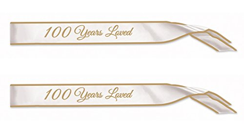 Beistle 60346, 2 Piece 100 Years Loved Satin Sashes, 33