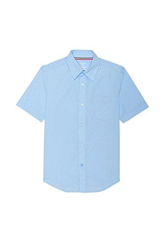 Button Down Short Sleeve Uniform - French Toast Little Boys' Short Sleeve Poplin Dress Shirt, Light Blue, 6
