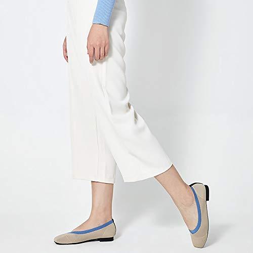 Yxx Para Cordones Beige zapatos De Cuadrados Retro Zapatillas Cuadrados Zapatos Sin Superiores Mujer Bajo Tacón wqwrH