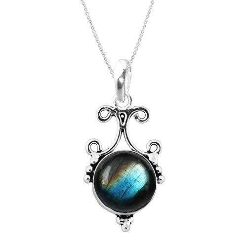 - Labradorite Pendant Necklace Vintage Boho design with Sterling Silver for Women and Girls