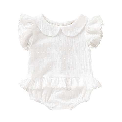 (0-18M Infant Baby Romper Summer Fly Sleeve Lace Bodysuit Onesie (White, 0-3)