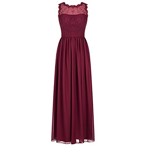 Ugly bridesmaid dresses amazon alagirls long chiffon bridesmaid dress lace see through prom dress burgundy us12 junglespirit Gallery
