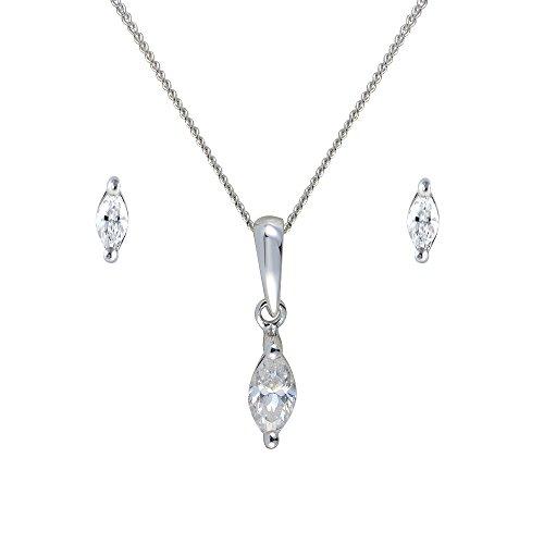 Parure collier et boucles d'oreilles - 135P0233 - 11 - Femme - Or Blanc 375/1000 (9 Cts) 1.145 Gr - Oxyde de Zirconium