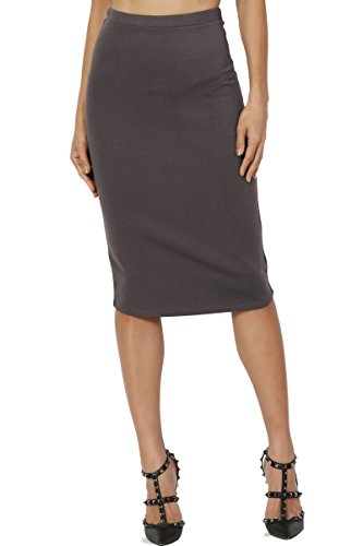 (TheMogan Women's Basic Stretch Thick Ponte Knit Pencil Midi Skirt Ash Grey)