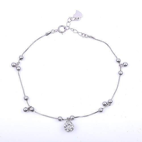 Alvaaoby S925 Sterling Silver Anklet Classic Lucky Beads Love Chain Adjustable Bangle 9