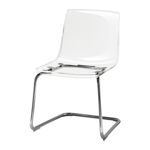ikeaa IKEA Tobias Chair, Clear, Chrome Plated 803.496.71, Silver