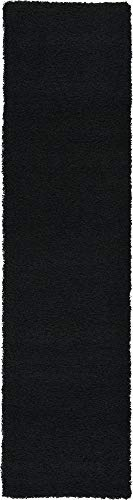 - Unique Loom Solo Solid Shag Collection Modern Plush Jet Black Runner Rug (2' 6 x 10' 0)