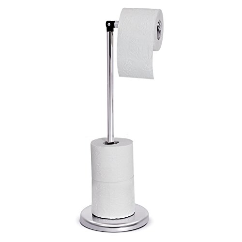 Tatkraft Ingrid Toilet Roll Holder Stand Chromed Steel D17X4