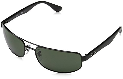 Ray Ban Men's RB3445 002/58  Black/Green, Polarized Aviator 61mm - Ban Black Aviators Lens Ray