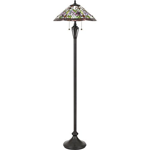Quoizel TF3456FVB White Valley Flower Tiffany Floor Lamp, 2-Light, 200 Watts, Vintage Bronze (63
