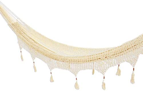 NOVICA Ivory Natural Off White Hand Woven Nylon Mayan Matrimonial Family Size XXL Rope Hammock with Crochet Fringe, Caribbean Shores Triple