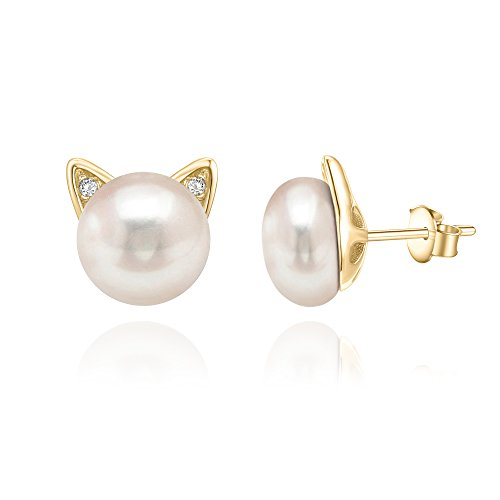 PAVOI 14K Yellow Gold Plated Cat Pearl Earrings