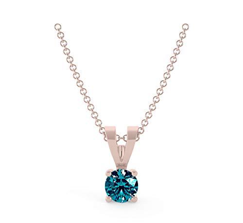 Frostrox 14K Rose Gold 0.10 Carat Round Brilliant-Cut (I1-I2 Clarity) Classic Solitaire Blue Diamond Pendant for Women