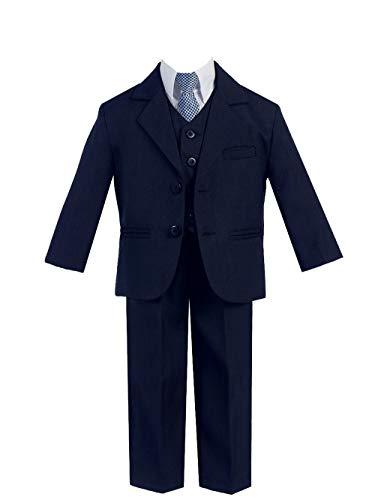 - Little Gents 5 Piece Boy's 2 Button Dress Suit with Shirt, Vest, and Tie (4, Navy)