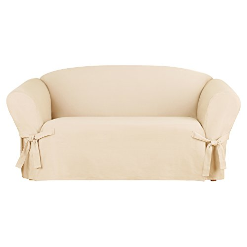- Sure Fit Heavyweight Cotton Duck One Piece Slipcover (Natural, Box Cushion Loveseat)