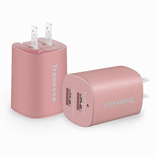 Tranesca Dual USB Wall Chargers for iPhone Xs/Xs Max, iPhone XR/8/7/6S/6S Plus/6 Plus/6, Samsung Galaxy S7/S6/S5 Edge, LG, HTC, Moto, Kindle and More-2 Pack (Rose Gold)