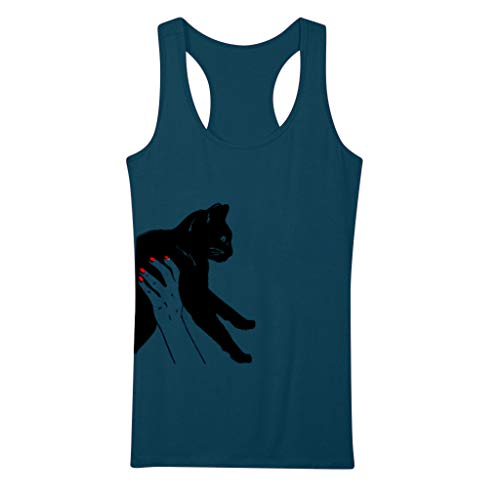 Toponly Cat Printed Tank Tops For Women Casual O Neck Crop Tops Camisole Sleeveless T shirt by Toponly women T-shirt (Image #2)