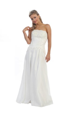 Taffeta mother of the bride formal gown 1150J-OFF WHITE-4X - Women Taffeta Brides Maid Dress