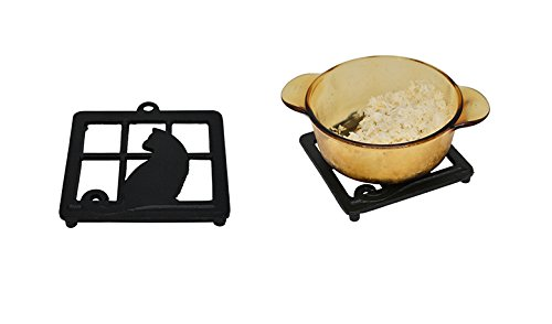 (Home-X Cast Iron Trivet, Square Trivet with Single Cat in Window)