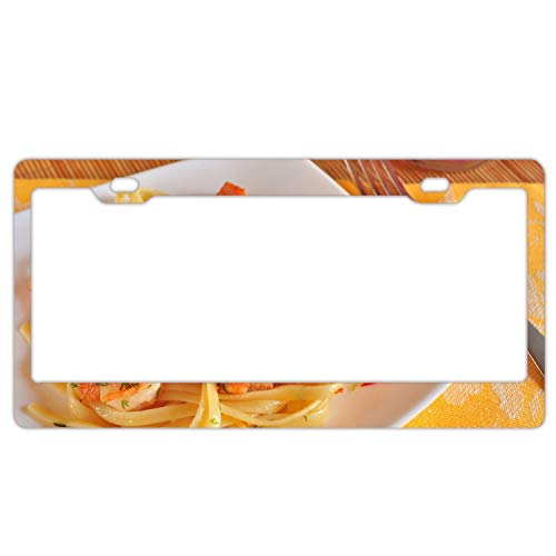 (United States Navy veteran Spaghetti Shrimps Fennel Meat Aluminum license plate frame)