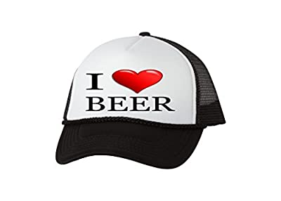 Rogue River Tactical Funny Trucker Hat I Love Beer Baseball Cap Retro Vintage Joke Heart Alcohol Drinking