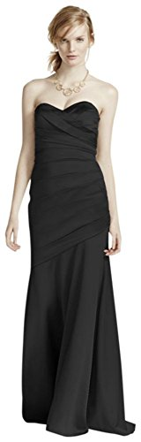 Long Strapless Stretch Satin Bridesmaid Dress Style F15586 – 2, Black