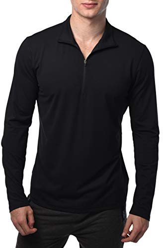 90 Degree By Reflex Ultra Soft Half Zip Long Sleeve Shirt for Men - Black -XL