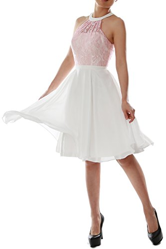 MACloth Women Halter Lace Short Wedding Party Bridesmaid Dress Homecoming Gown Rosa