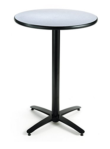 - KFI Seating Round  Bar Height Pedestal Table with Arched X Base, Commercial Grade, 36-Inch, Grey Nebula Laminate, Made in the USA