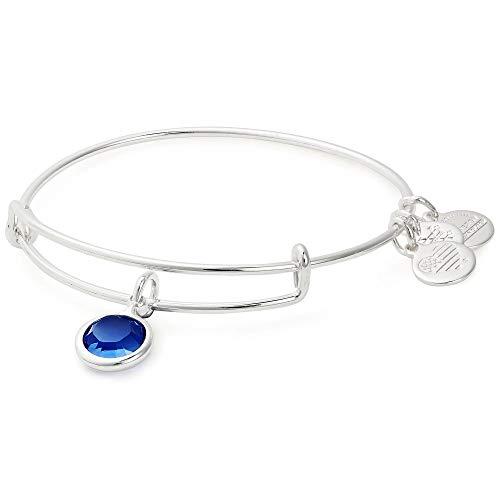 (Alex and Ani Women's Swarovski Color Code Bangle Bracelet September/Sapphire Color/Shiny Silver One Size)