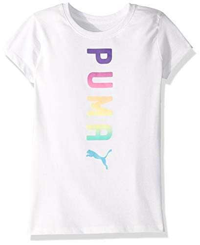PUMA Big Girls' Graphic T-Shirt, White, X-Large - Graphic T-shirt Puma