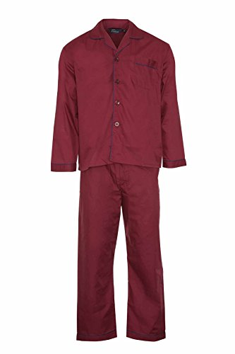 Bluesea Champion Men's Woven Pyjama Set Night Summer Wear X-Large Maroon