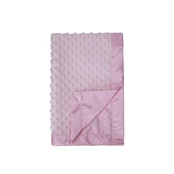 "Pro Goleem Baby Minky Dot Blanket with Satin Backing for Girls (Pink, 30"" x 40"")"