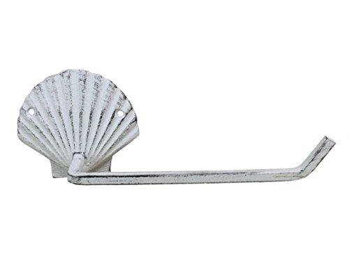 Hampton Nautical K-9211-w Whitewashed Cast Iron Shell Toilet Paper Holder 10